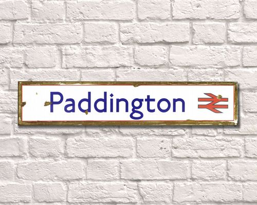 Paddington Rusty Metal Sign 15cm x 79cm